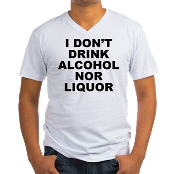 Men's light color white v-neck t-shirt with I Don't Drink Alcohol Nor Liquor theme. The side effects of alcohol and liquor are SERIOUS. Anyone addicted should seek help and detox. There are endless other healthy liquids to drink. Available in small, medium, large, x-large, 2x-large for only $24.99. Go to the link to purchase the product and to see other options – http://www.cafepress.com/stdontdrink