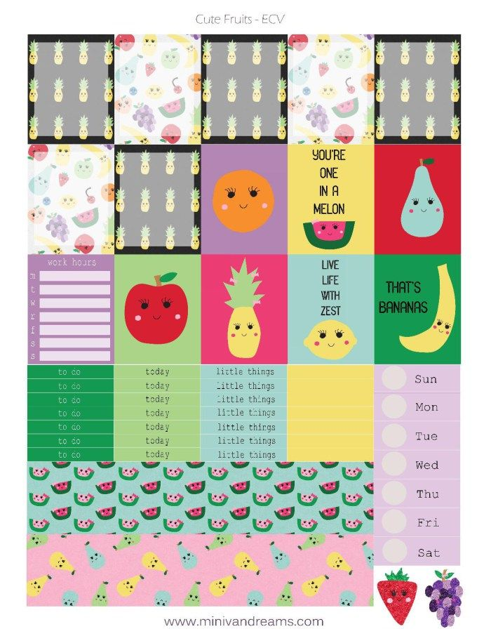 Free Printable Planner Stickers Cute Fruits Ecv Hp Planner