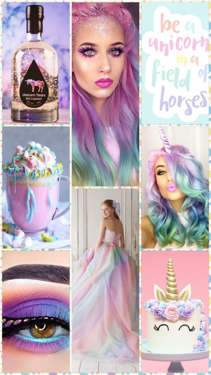 Be unique... by Cath moodboard unicorn soft colors