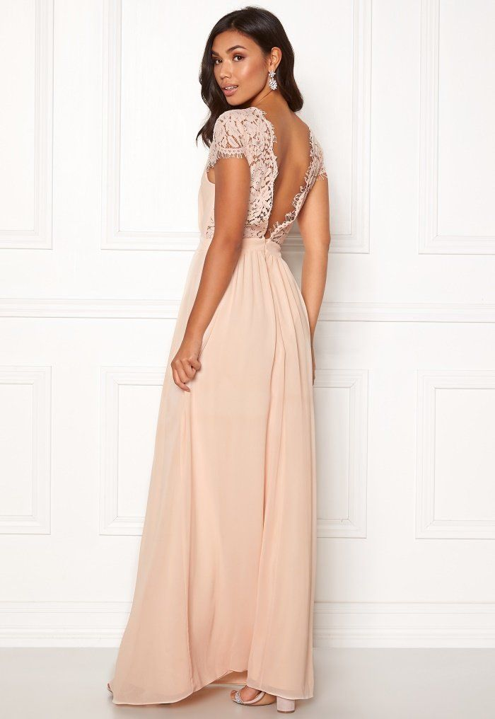 f01e8501853 Moments New York Camellia Chiffon Gown Beige-pink - Bubbleroom ...