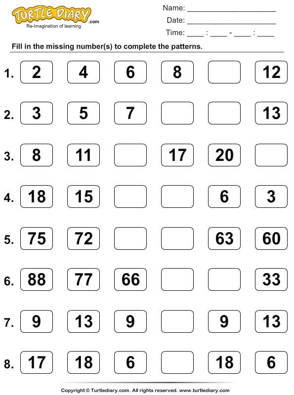 Patterns Sequences Worksheets