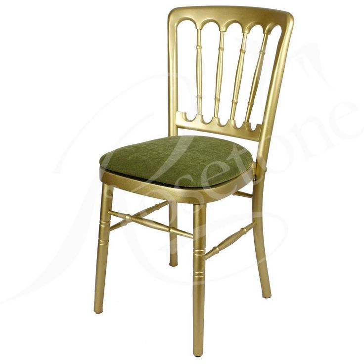 Gold Bentwood Wedding Chair with Sage Green Seat Pad