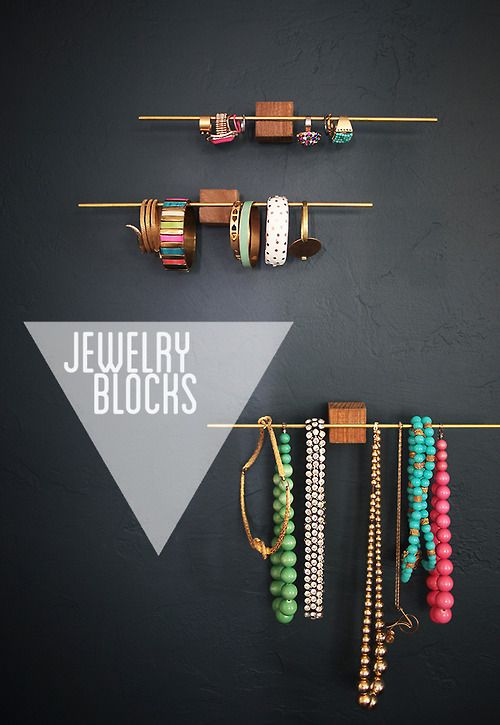 DIY Jewelry Blocks | Emily Henderson A little glue, a little block of wood and a brass dowel, suddenly you have some chic jewelry display and/or storage. This project can easily be done with found items like a kids toy block and a super light curtain rod. (Or am I the only one who has one or more hiding in a closet somewhere?)