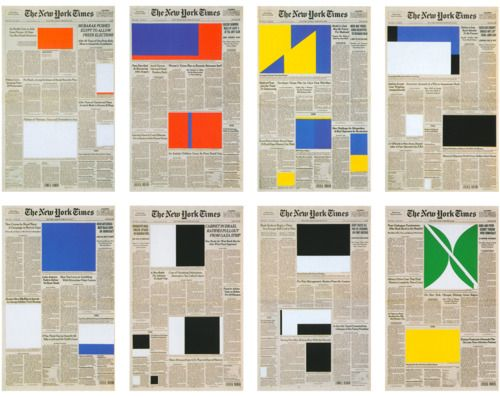 Front page of NYTimes color blocked images. Reminds me of signal flags. #art