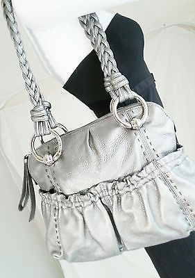 B. Makowsky Silver Soft Leather Caroline Medium Zip Top Satchel  Braided Straps