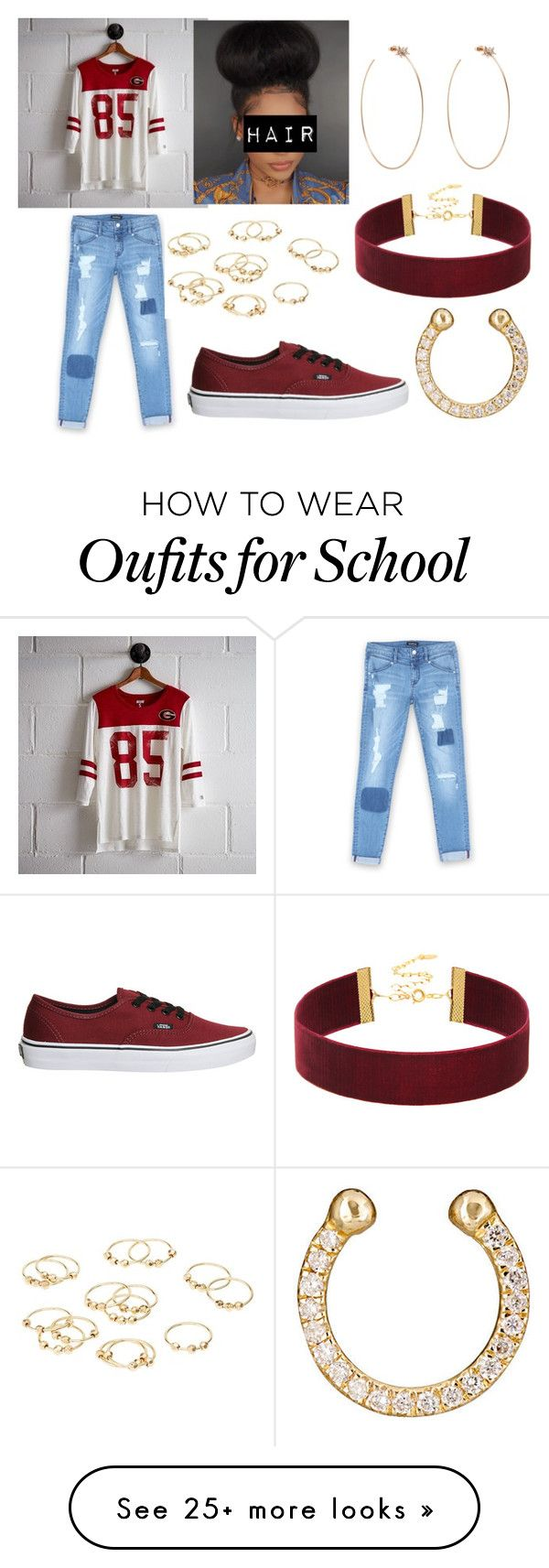 """SCHOOL"" by malie-queen on Polyvore featuring Tailgate, Bebe, Vans, Diane Kordas, Charlotte Russe and Ileana Makri"