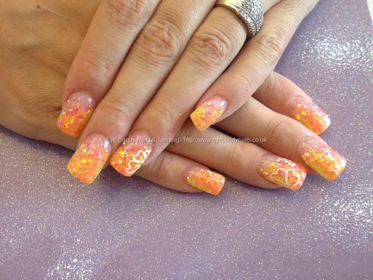 Full set of acrylic with coloured acrylic and glitter dust