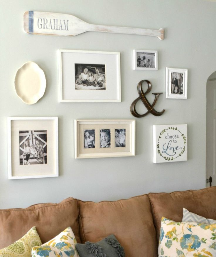 Gallery wall with Personalized Wood Oar