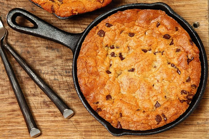 Yes, your cast-iron skillet is also a great baking sheet—just smaller, and with sides. So why not bake a giant cookie in it?