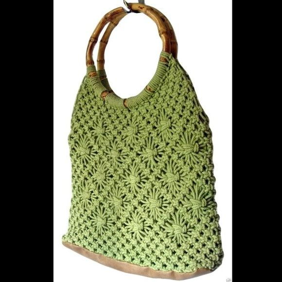 """Caribbean Joe Green Crocheted Handbag with Bamboo Great summer color! Leather bottom and leather snap top closure. Crocheted body with floral design. Inside: 2 open pockets, 1 zip pocket Measures 10"""" tall x 12"""" wide x 3"""" deep  Condition: Pre-owned, EXCELLENT gently used condition! Free of stains, fading and damages. Clean from smoke-free home. Caribbean Joe Bags"""