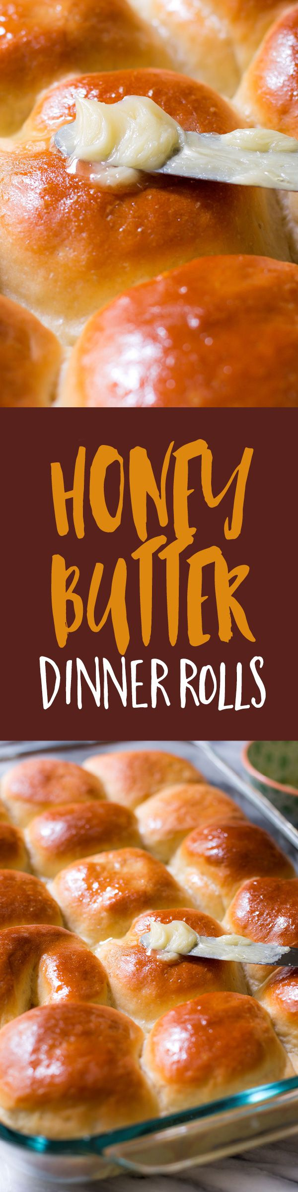 Soft and fluffy dinner rolls recipe infused with sweet honey and topped with homemade honey butter right after baking. They're absolutely a must for your dinner menu!