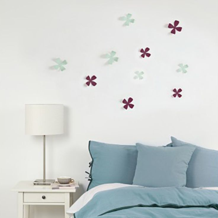 Decoración de pared: Flores menta y berenjena | o2lifestyle