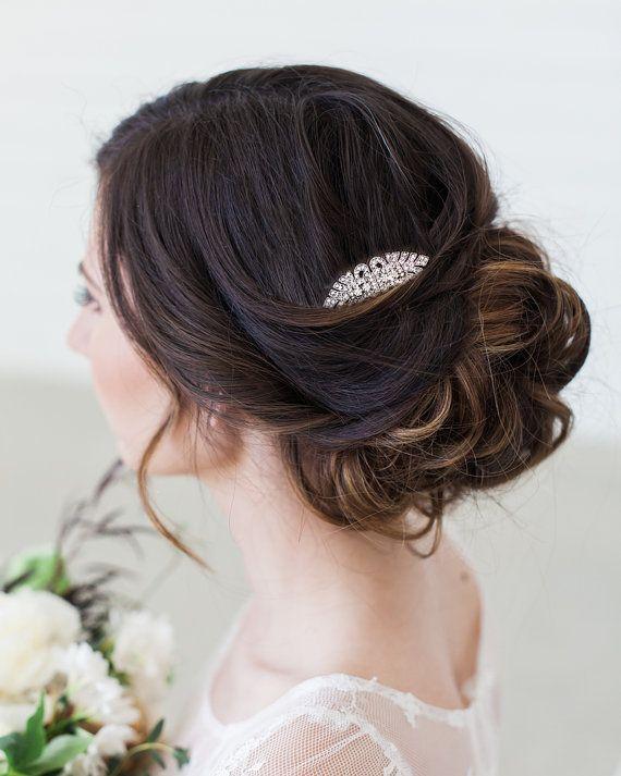 Art Deco zilveren Crystal Bridal haar kam, Vintage geïnspireerde haarstukje Downton Abbey, Great Gatsby, bruids haartoebehoren, Crystal zendspoel
