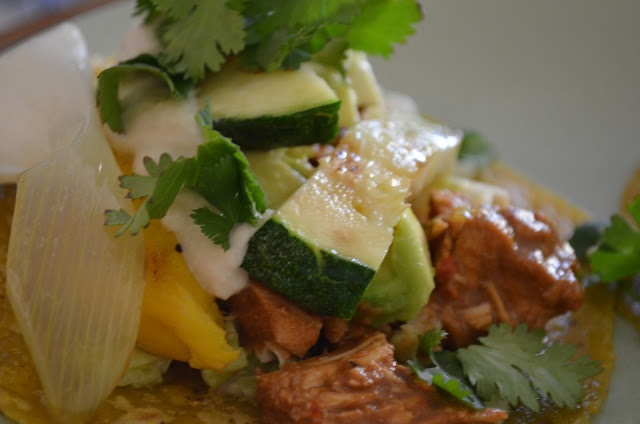 Chicken Mole with Grilled Mango, Veggies and Sauteed Cabbage