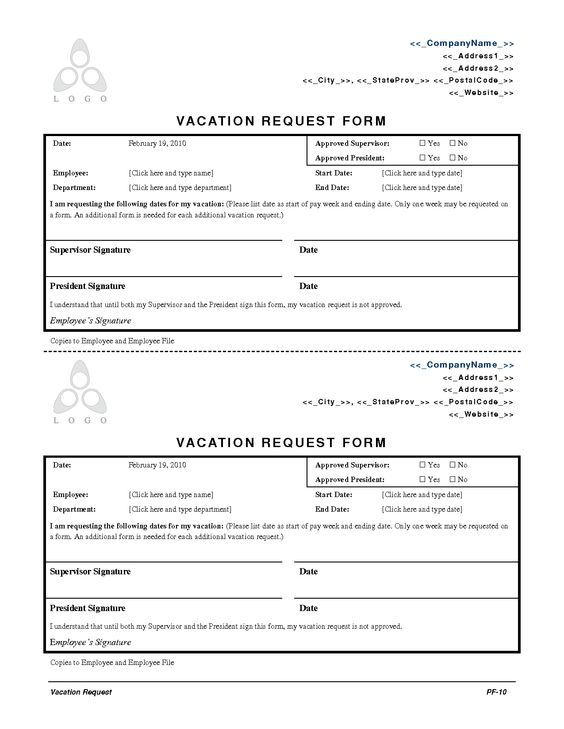 15 best employee forms images on Pinterest Human resources - sample vacation request form