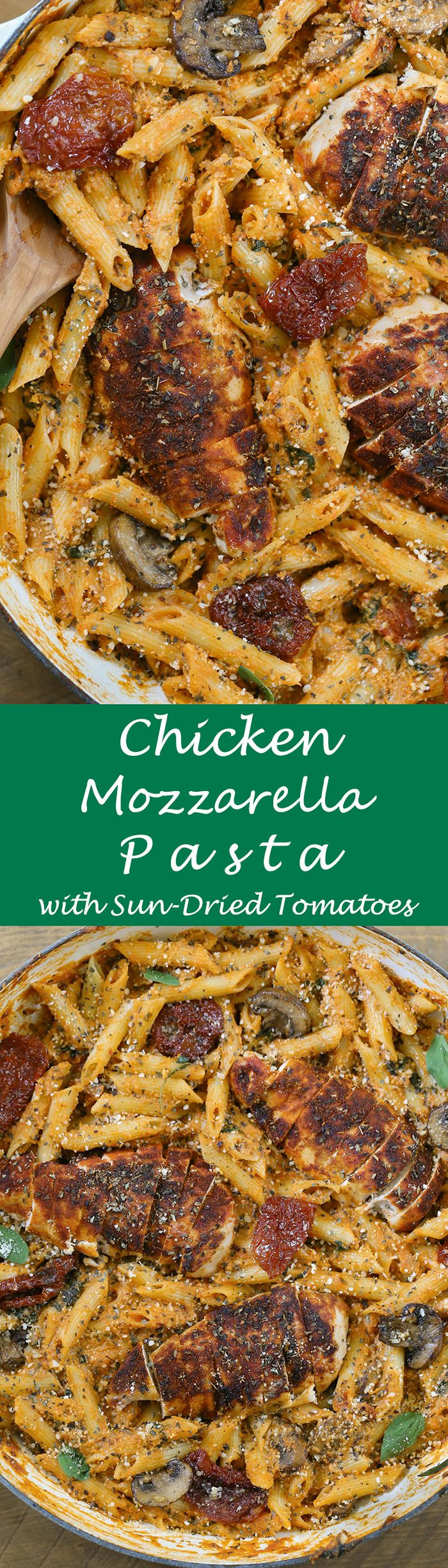 Chicken Mozzarella Pasta - Pan seared sun-dried tomatoes and oven-roasted chicken with sauteed mushrooms, garlic, and spinach added to a rich and flavorful creamy mozzarella marinara sauce with penne pasta. Pan tossed with parmesan cheese and herbs to give a robust Tuscan flavor. This recipe will become a family favorite. #ad