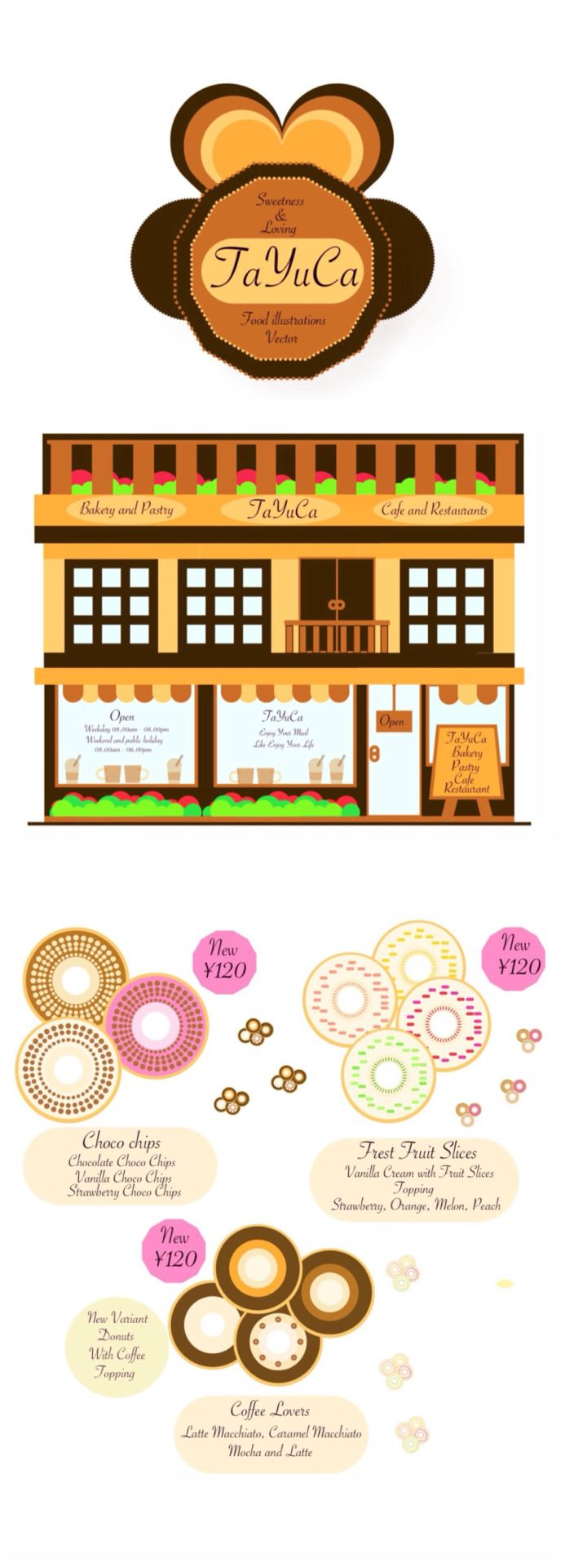 TaYuCa Vector Food Illustrations — Grab fast the donuts