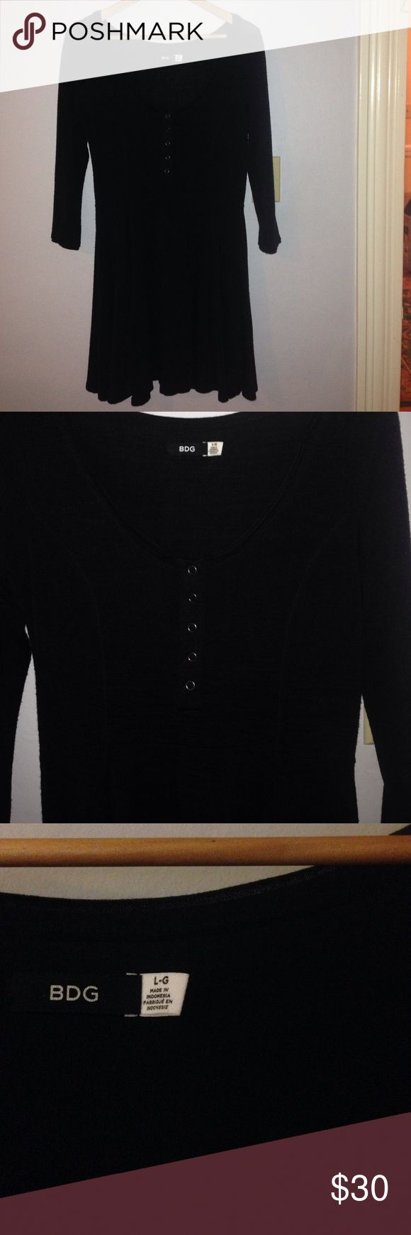 Urban outfitters long sleeve dress Urban outfitter BDG long sleeve dress in black. There are three buttons on the front. Nice and simple silhouette. Never worn, very good condition! Size large! Great with sneakers of with tights and heels! Urban Outfitters Dresses