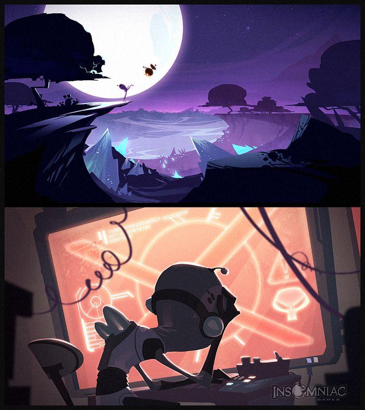 environment, moon, town, landscape, setting, space, alien, game, bg, illustration