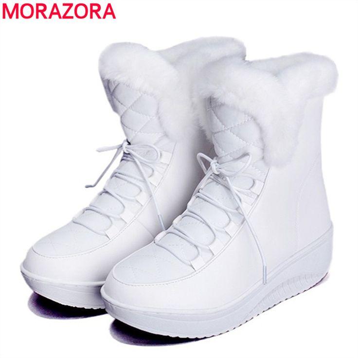 Morazora 2017新しいロシア冬の雪のブーツ厚い毛皮の内側プラットフォーム靴女性ウェッジヒールの女性アンクルブーツ女性の靴