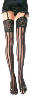 Leg Avenue Striped Stockings 9218 blk vertical stripe lace stockings