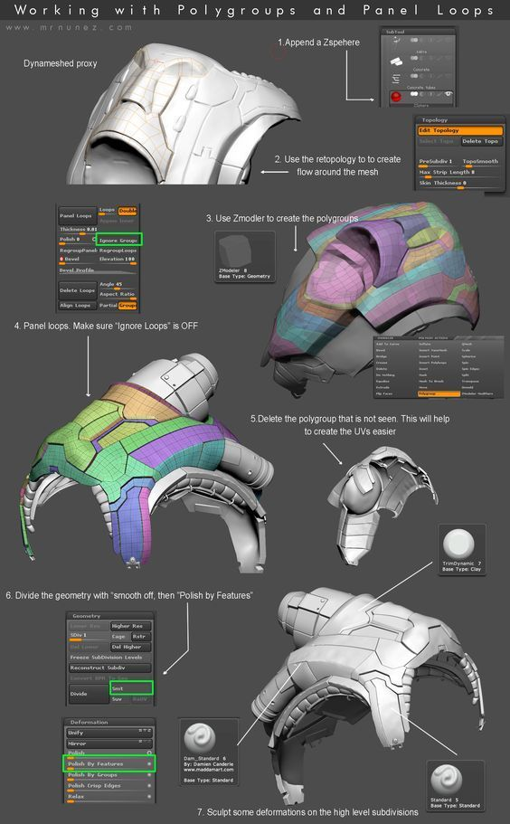 Working with Polygroups and Panels in Zbrush - mrnunez::