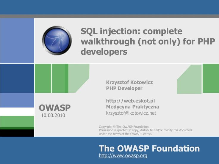 SQL Injection: complete walkthrough (not only) for PHP developers