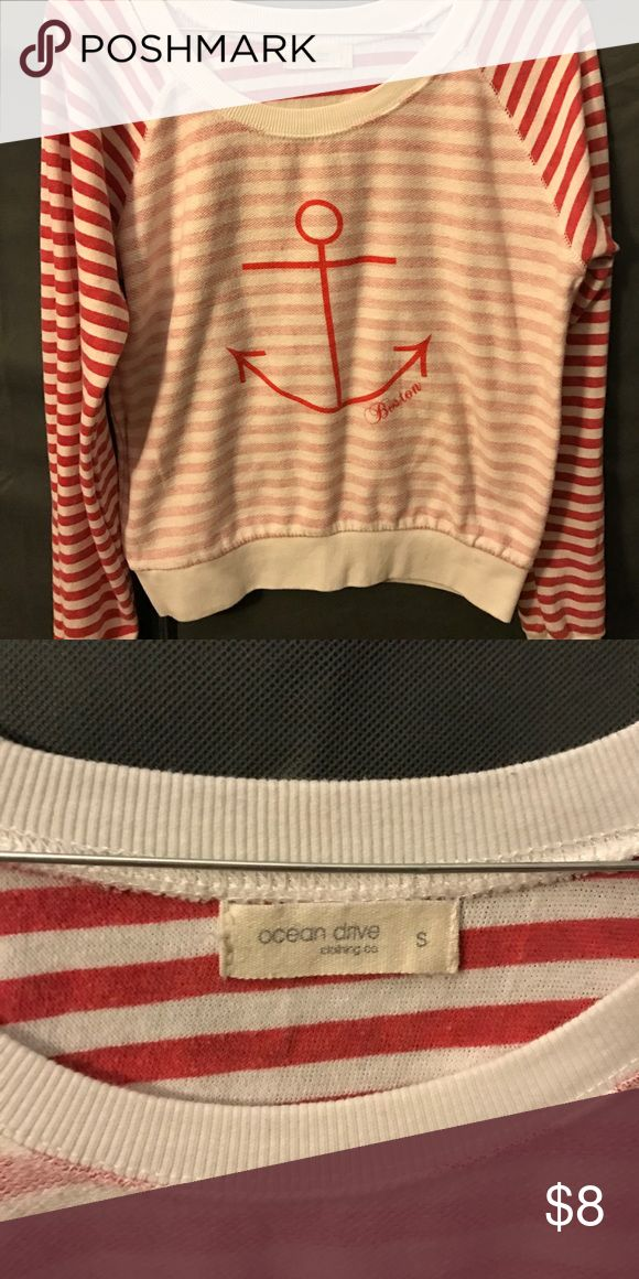 Anchor sweater Says Boston below the anchor. Nautical look⚓️⚓️ great for a Red Sox fan! Ocean Drive Sweaters Crew & Scoop Necks