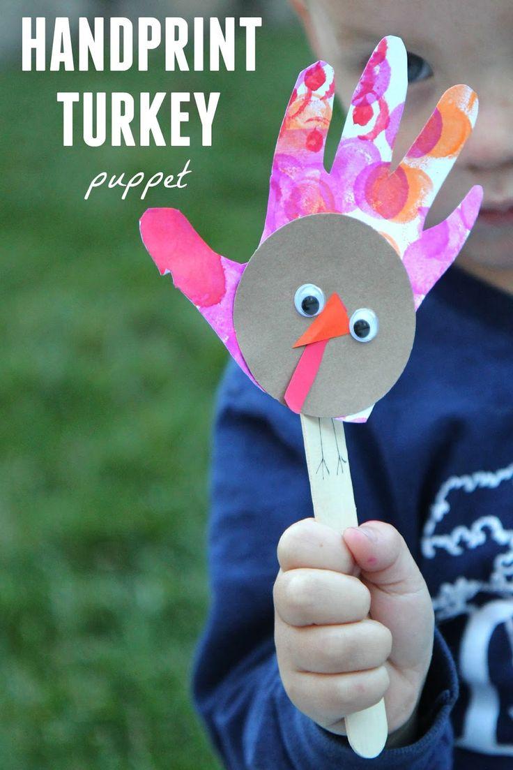 Handprint Turkey Puppet Thanksgiving PreschoolThanksgiving ArtThanksgiving