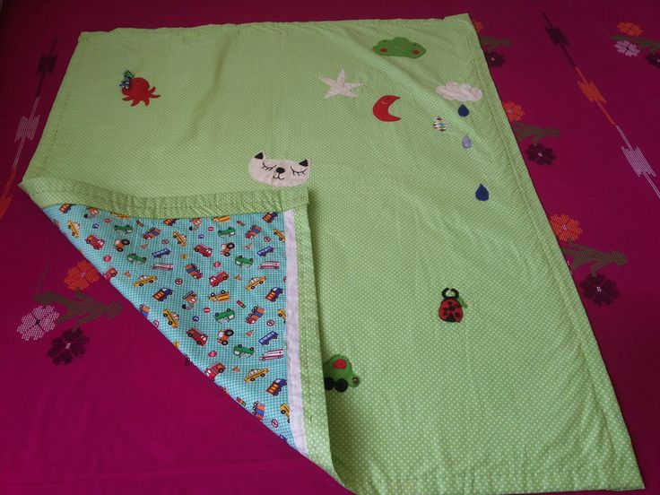 Hand stiched Beautiful baby quilt with cute patch work/applique