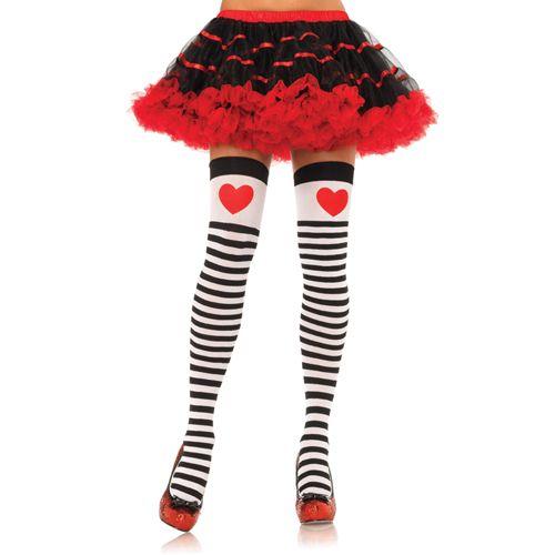 Gestreepte kousen met decoratief rood hart #lingerie #lingeriebestellen #panty #kousen #beenmode #carnaval #fun