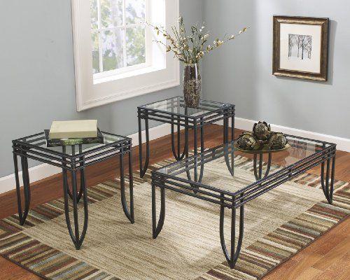 FURNITUREMAXX MATRIX 3 IN 1 ACCENT TABLE SET W/ BLACK METAL FRAME, COFFEE U0026