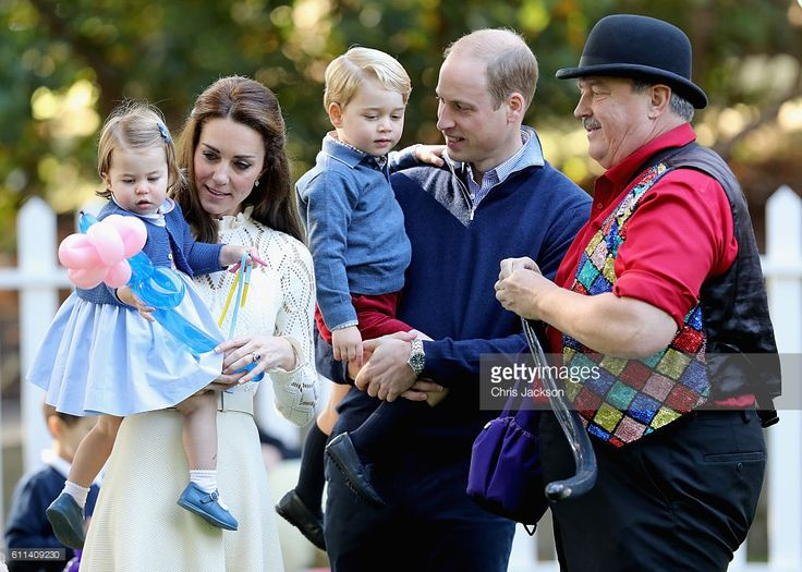 Catherine, Duchess of Cambridge holding Princess Charlotte of Cambridge and Prince George of Cambridge, being held by Prince William, Duke of Cambridge at a children's party for Military families during the Royal Tour of Canada on September 29, 2016 in Victoria, Canada. Prince William, Duke of Cambridge, Catherine, Duchess of Cambridge, Prince George and Princess Charlotte are visiting Canada as part of an eight day visit to the country taking in areas such as Bella Bella, Whitehorse and…