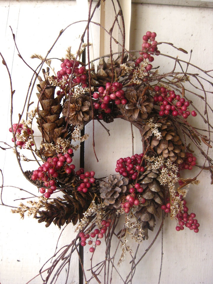 Nordic Natural Winter Wreath-this is Valentines to me. Always loved pepper berries and statice. Creative and like the loose freeform of branches, via Etsy.