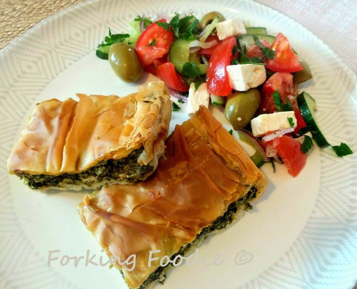 Forking Foodie: Spinach and Feta Filo Pie - Spanakotiropita / Spanakopita (includes Thermomix method)