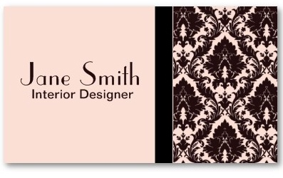 Elegant Stylish Classy Damask Floral Professional Business Card Template