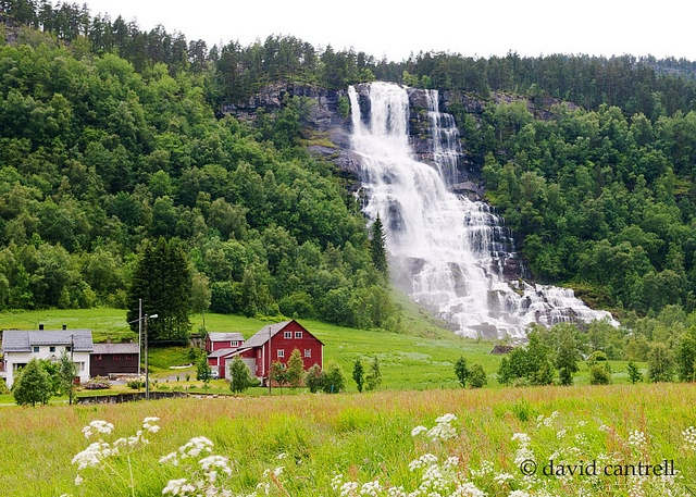 Tvindefossen at a wide spot along the road (E16) on the way to Songefjorde. There are waterfalls everywhere in Norway. This is Tvindefossen in Tvinno, Norway.