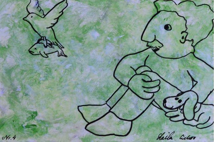 "Artmoney - unique piece of art doubling as a gift card ""Green money 4"""