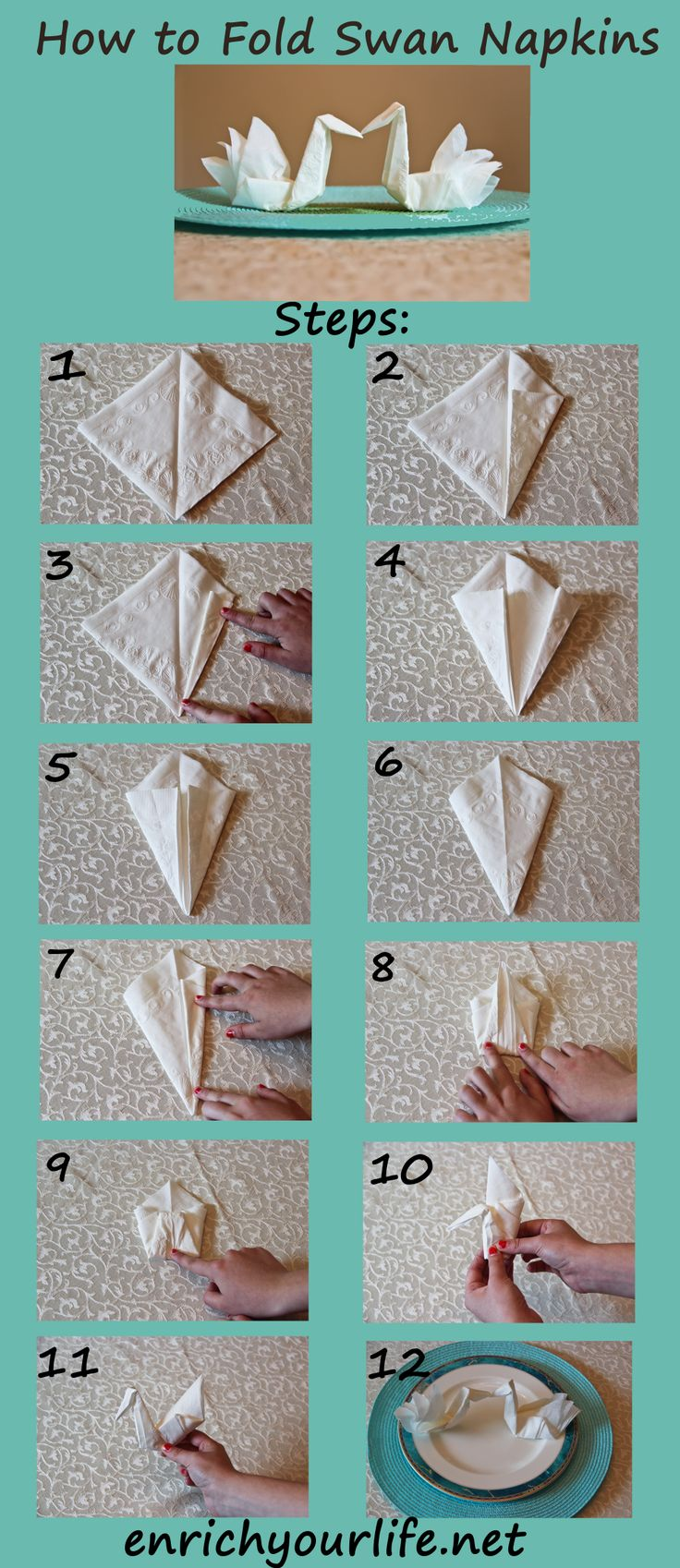 How To Make Table Napkin Designs napkin folding How To Fold A Swan Napkin Step By Step Enrichyourlifenet Enrichyourlife01gmail