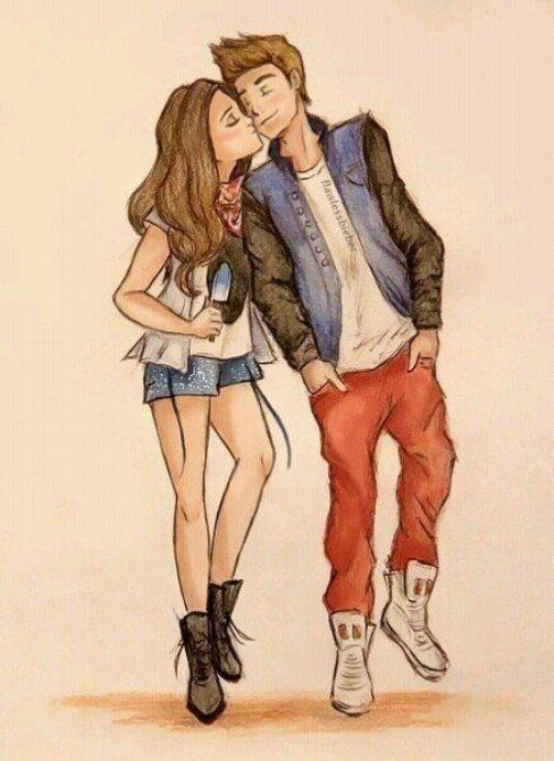 Нарисованные цветными карандашами парень и девушка идущие рядом, Рисунки карандашом, любовь