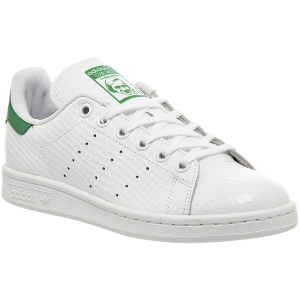 Adidas Stan Smith ($98) ❤ liked on Polyvore featuring shoes, sneakers, adidas, trainers, unisex sports, white white green, unisex shoes, white sneakers, snake skin shoes and sport shoes