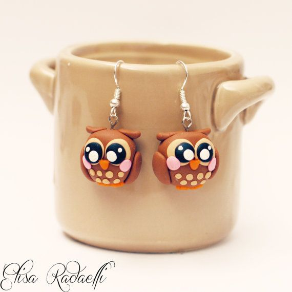 Owl earrings - polymer clay
