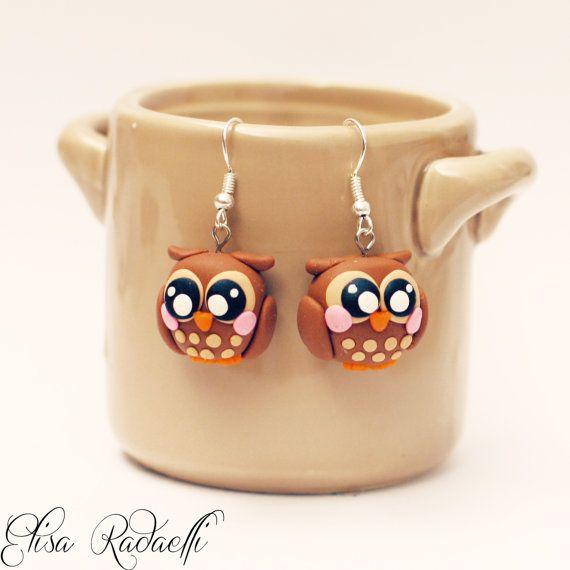 owl earrings - polymer clay - handmade