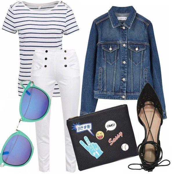 """Lo stile marinaro in versione street style. T-shirt a righe """"Breton"""" e pantalone marinai. Gli diamo quel tocco urban con il giubbotto di jeans le ballerine allacciate alla caviglia, gli occhiali fluo e la pochette con stickers Pop."""