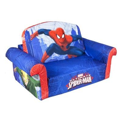 Marshmallow Furniture Children's Upholstered 2 in 1 Flip Open Sofa - Marvel Spider-Man by Spin Master, Bright Blue