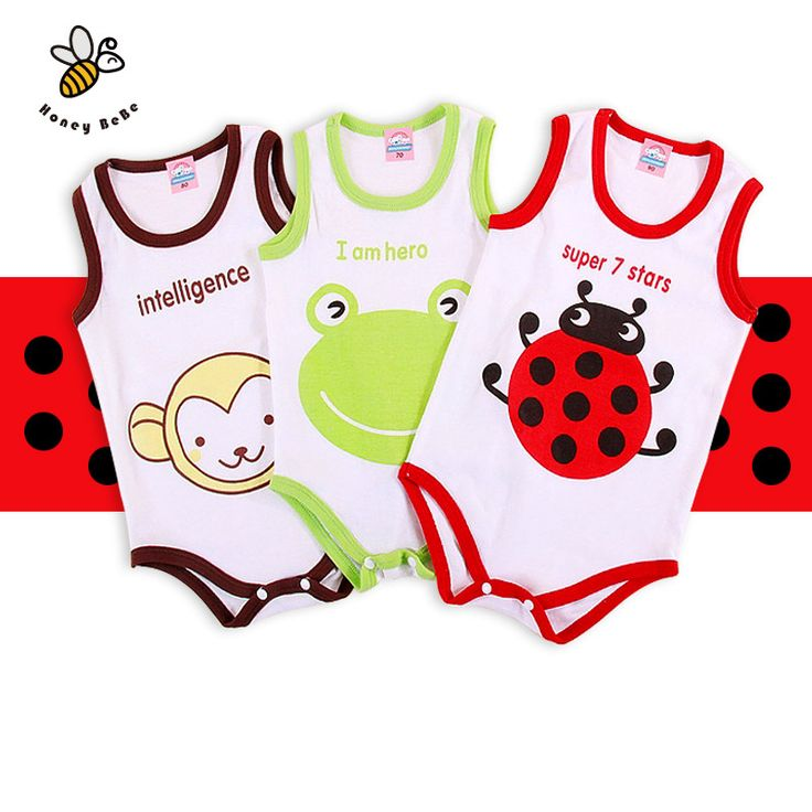 Cartoon Print Baby Romper Sleeveless Newborn Baby Clothes Summer Infant Baby Boys Girls Vest Jumpsuit Cotton Baby Rompers