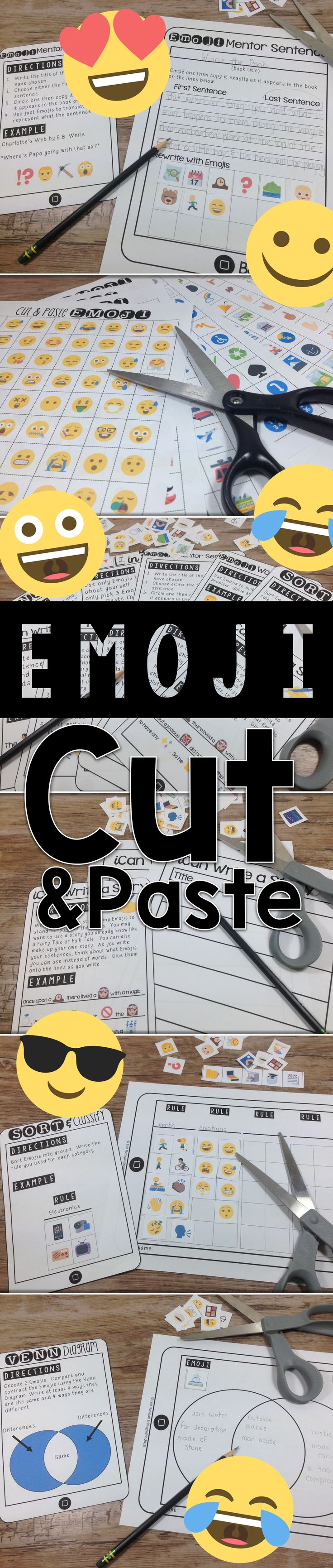 Students will love these 10 fun & low prep Emoji activities for writing, reading, math, and more using the included 1200+ Emojis to complete each activity by cutting and pasting!  Tech free Emojis for the classroom!
