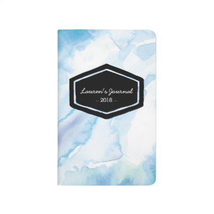 Aqua blue watercolor personalized journal notebook - watercolor gifts style unique ideas diy