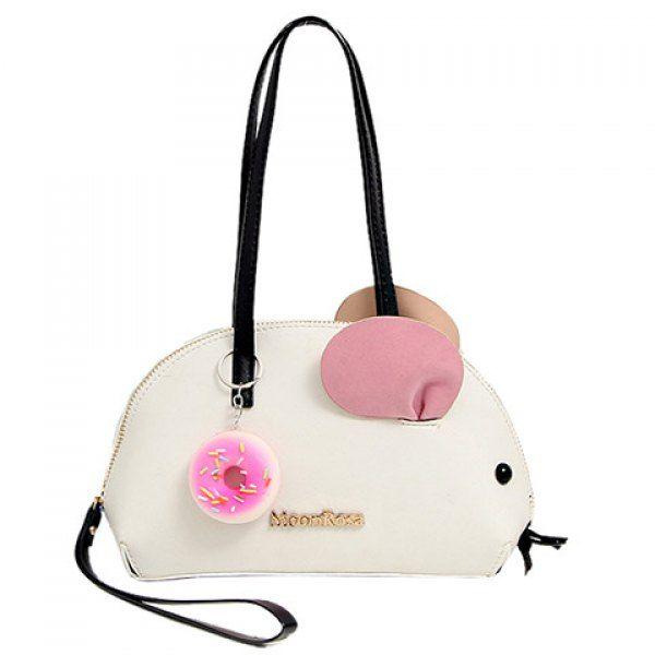 Sweet Mouse Shape And Color Block Design Shoulder Bag For Women Unique Handbagsshoulder