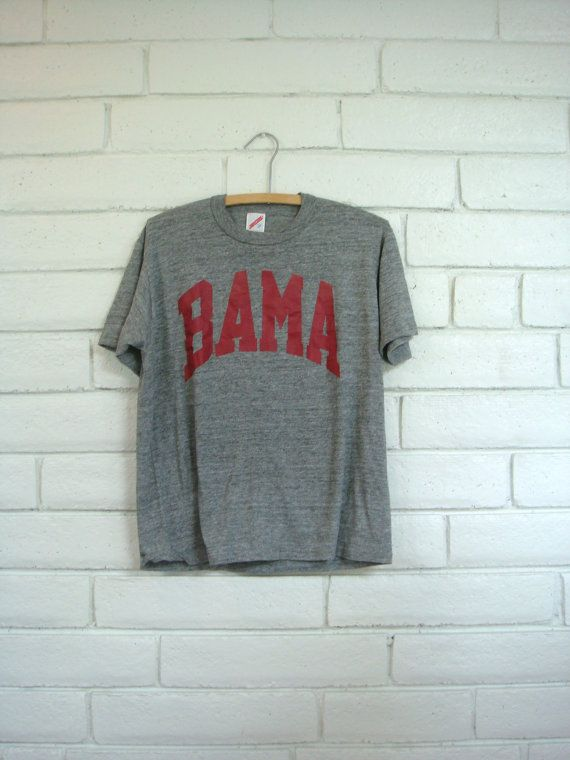 90's BAMA T-SHIRT vintage heather grey soft Jerzees knit tee men's Alabama college sport collegiate athletic M